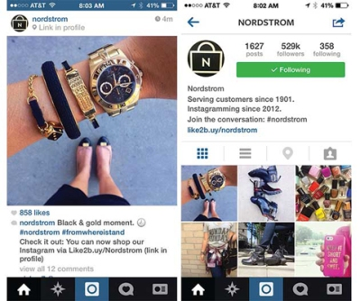 Nordstrom links Instagram with e-commerce and its website