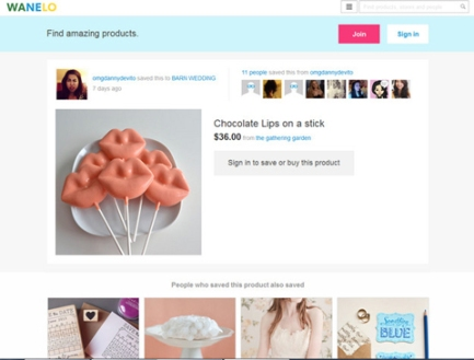 Wanelo uses Pinterest's easy tagging and collecting with smart e-commerce.